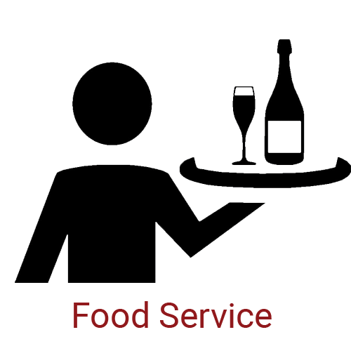 Food Service Icon - Person Holding Food Tray with Caption