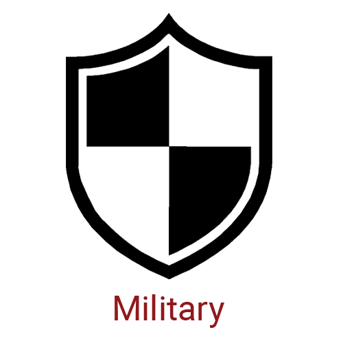 Military Icon - Large Black and White Shield with Caption