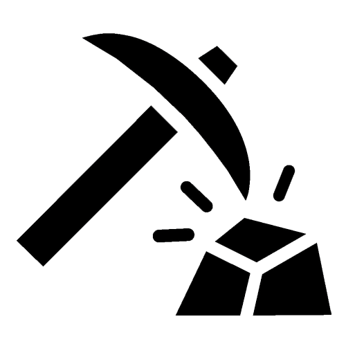 Mining Icon - Pickaxe and Stone