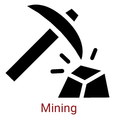 Mining Icon - Pickaxe and Stone with Caption