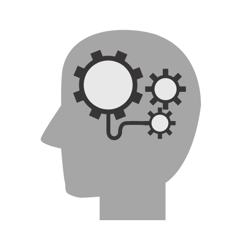 Left Facing Head Icon with Gears in Head