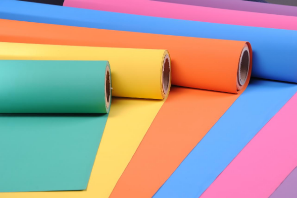 Front View of Unrolled Multi-Colored Sheet Rubber