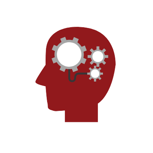 Red Icon of Head With Gears Symbolizing Tool Design Assistance