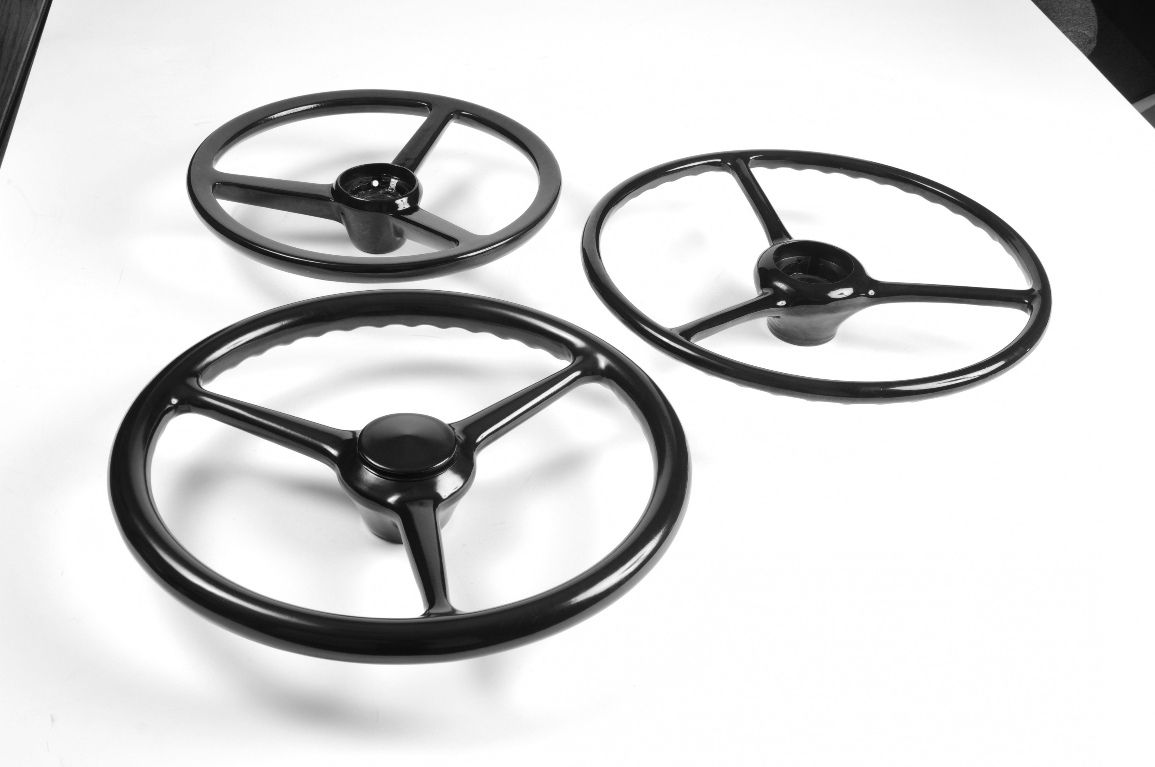 Top View of 3 Molded Rubber Steering Wheels