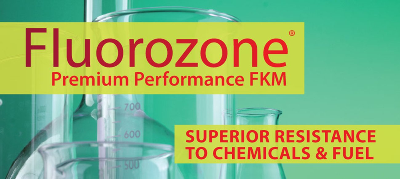 """Chemical Vial Jars with Text """"FKM Rubber Fluorozone Premium Performance FKM, Superior Resistance to Chemicals and Fuel"""""""