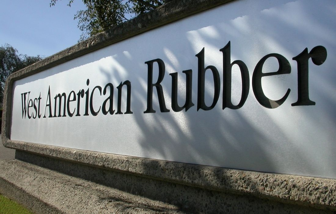 Front View of West American Rubber Sign