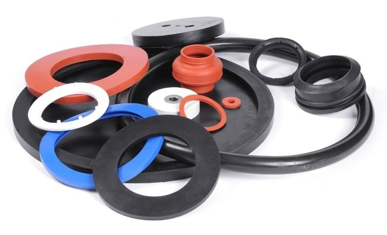 Examples of Molded Gaskets in a Blue, Orange, and Black Color