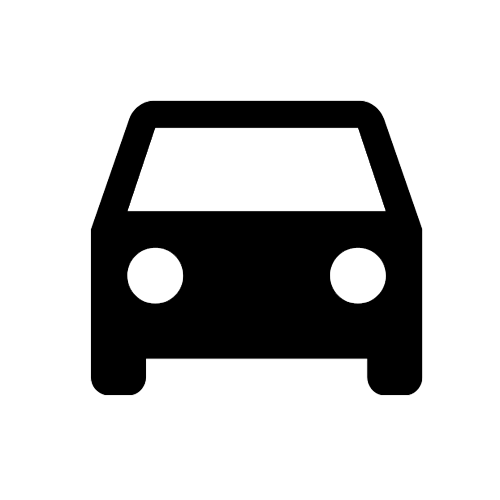 Black Icon of Front Facing Automotive Vehicle