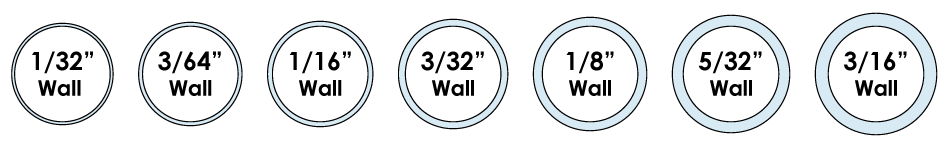 """Available Wall Thicknesses for Rubber Cable Jacket Spanning from 1/32"""" to 3/16"""""""
