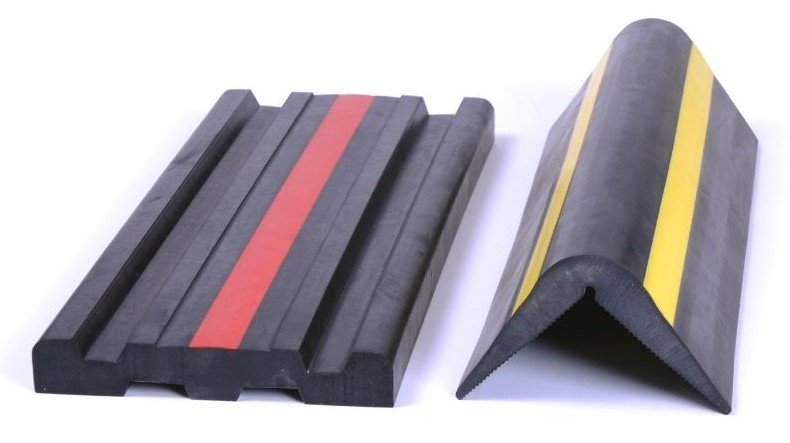 Close Up of Flat and Arched Extrusions with a Red Line or Yellow Line