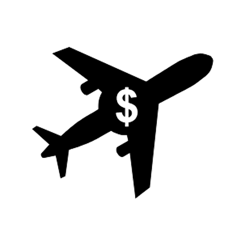 Black Icon of Import Plane With Dollar Symbol in Center