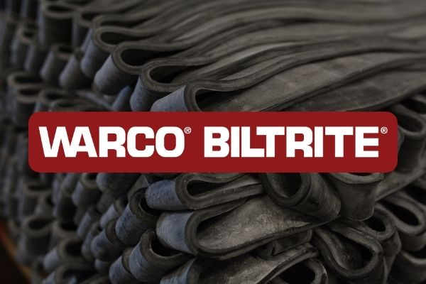 """Black Rubber Stock Strips with Text """"WARCO BILTRITE"""""""